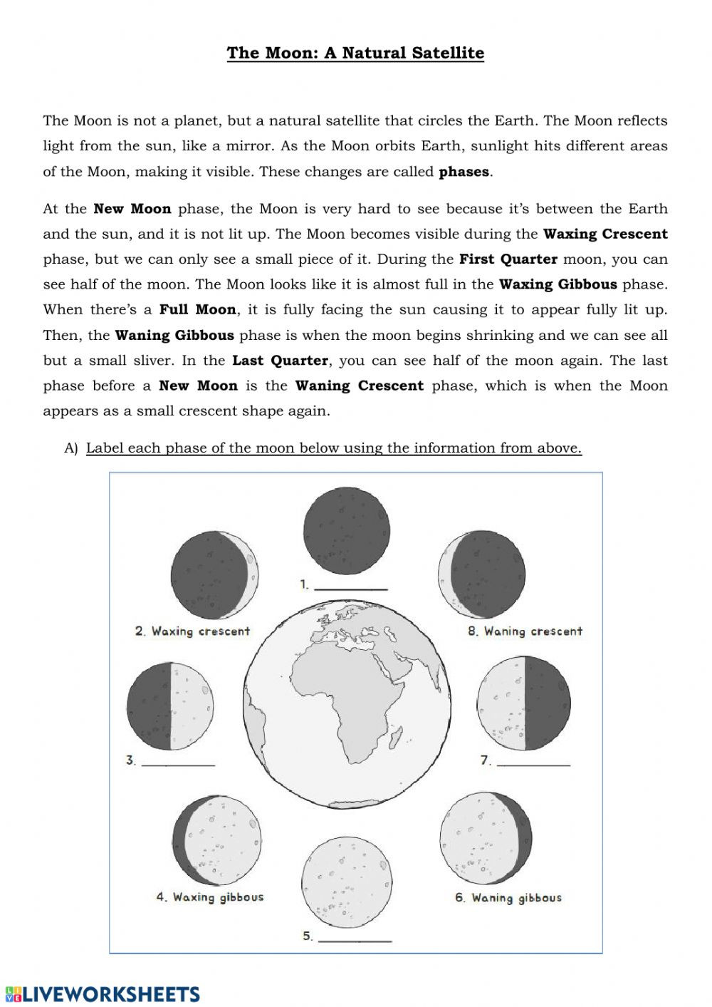 Moon Phases Worksheet Answers the Moon Phases and Eclipse Interactive Worksheet