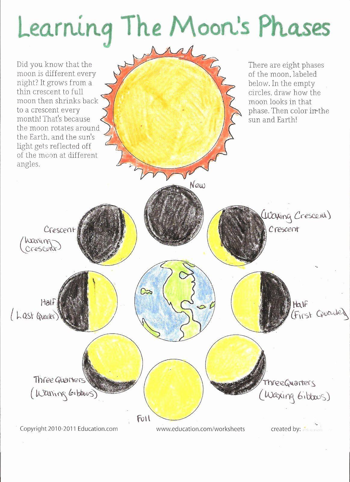 Moon Phases Worksheet Pdf 50 Moon Phases Worksheet Pdf In 2020