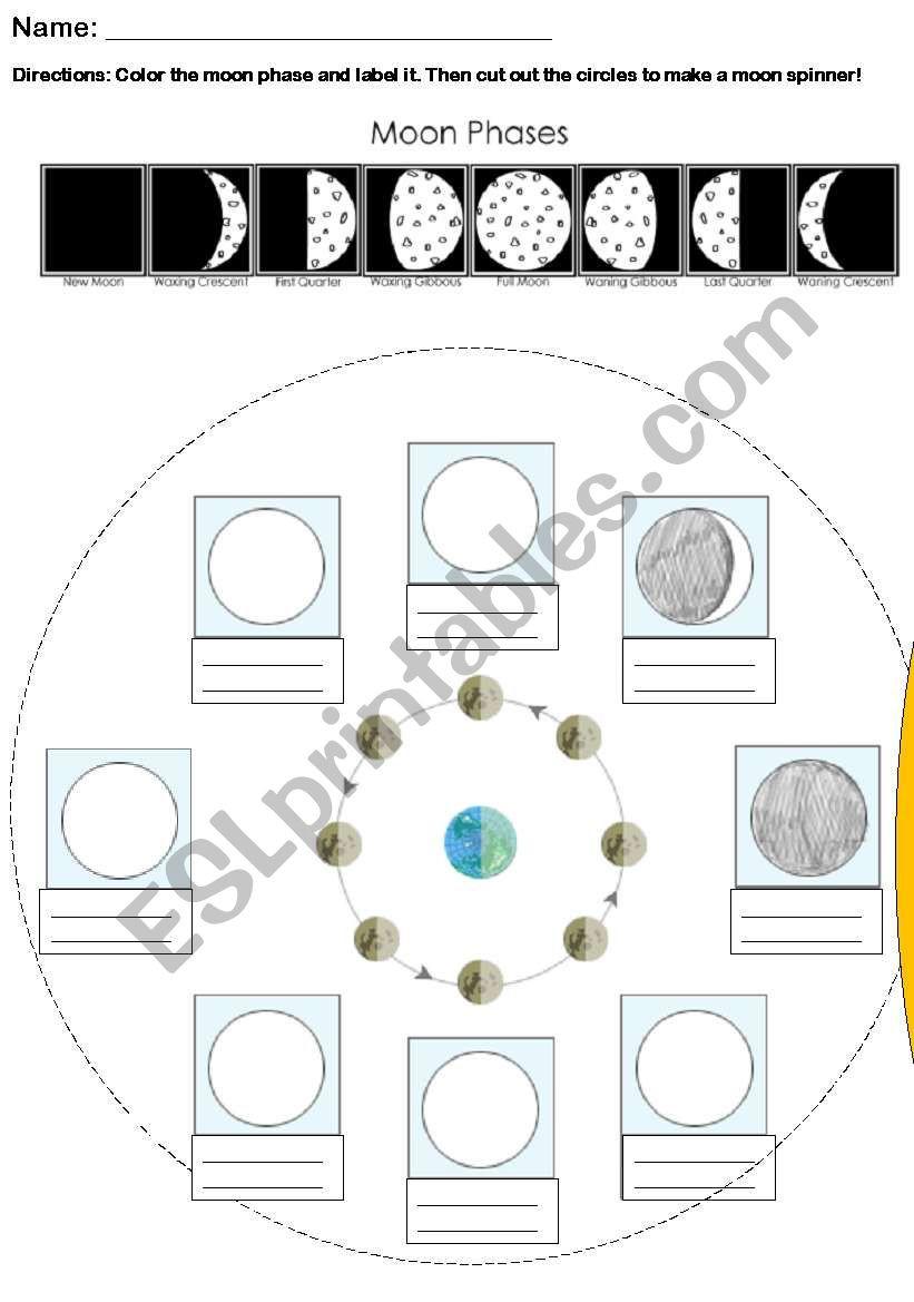 Moon Phases Worksheet Pdf Phases Of the Moon Spinner Esl Worksheet by Jpteacher