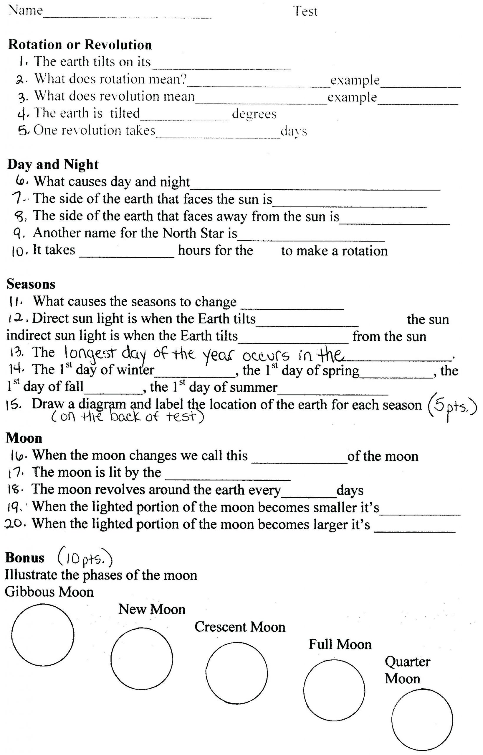 Moon Phases Worksheet Pdf Phases the Moon Worksheets 3 5 Main Phases the Moon