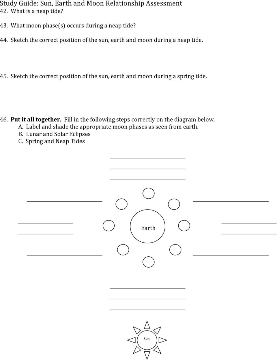 Moon Phases Worksheet Pdf Study Guide Sun Earth and Moon Relationship assessment