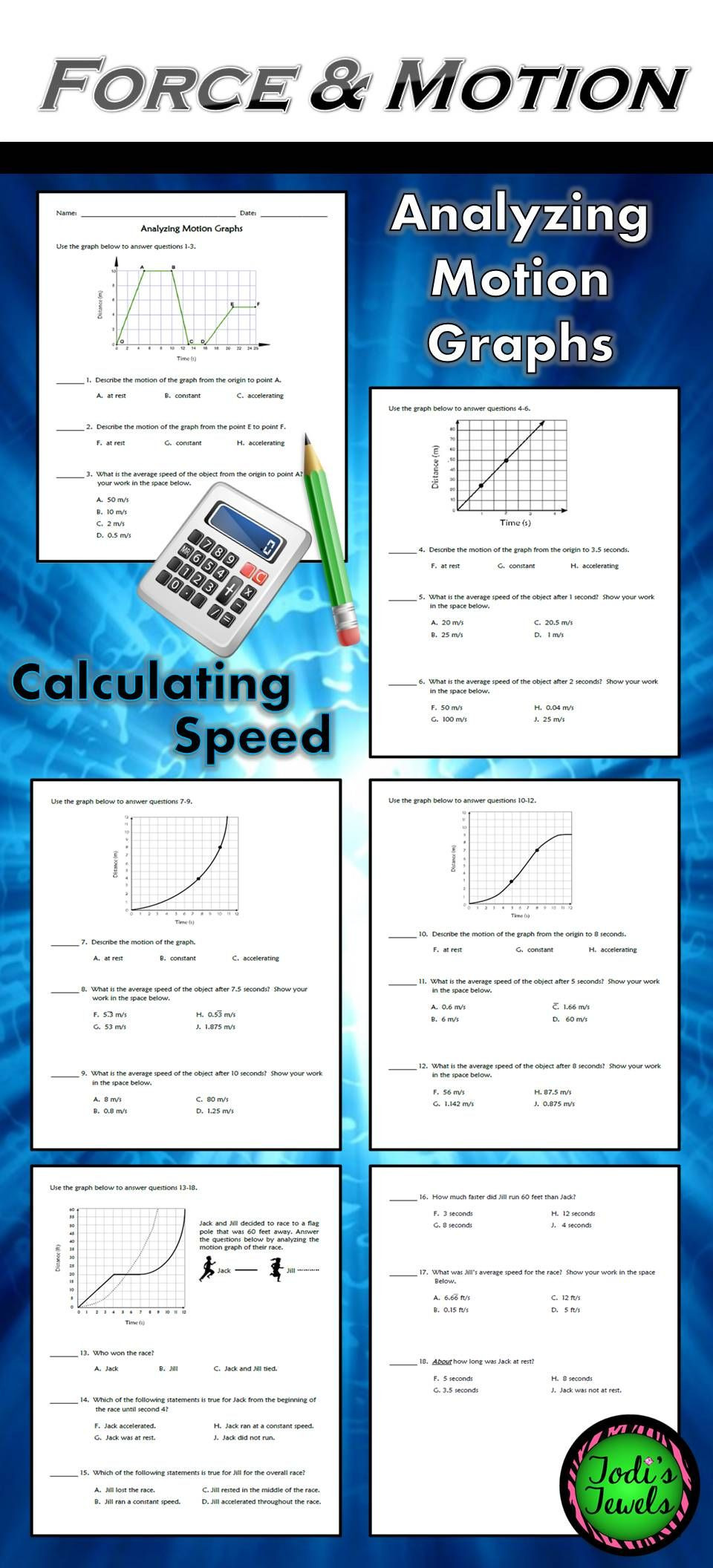 Motion Graph Analysis Worksheet Analyzing Motion Graphs & Calculating Speed Ws