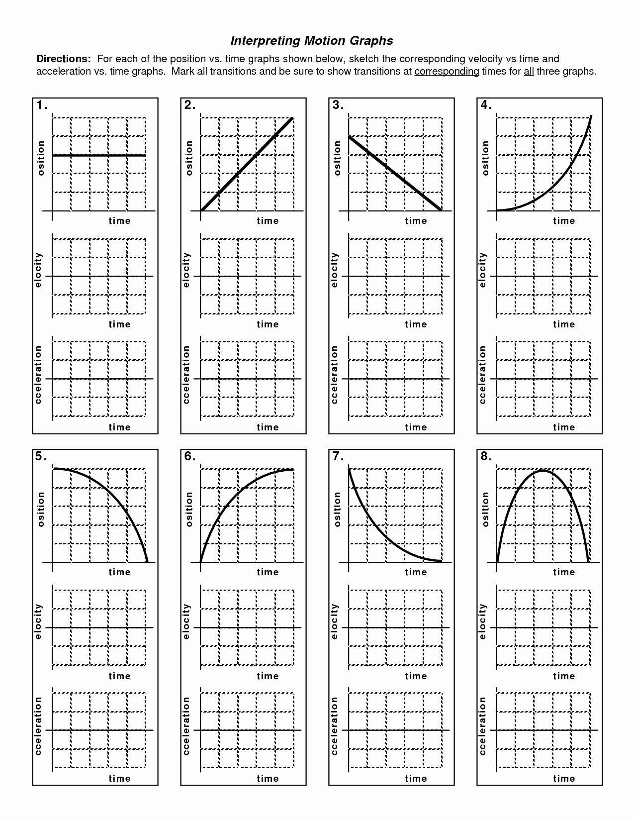 Motion Graph Analysis Worksheet Motion Graph Analysis Worksheet New Kinematics Motion Graph