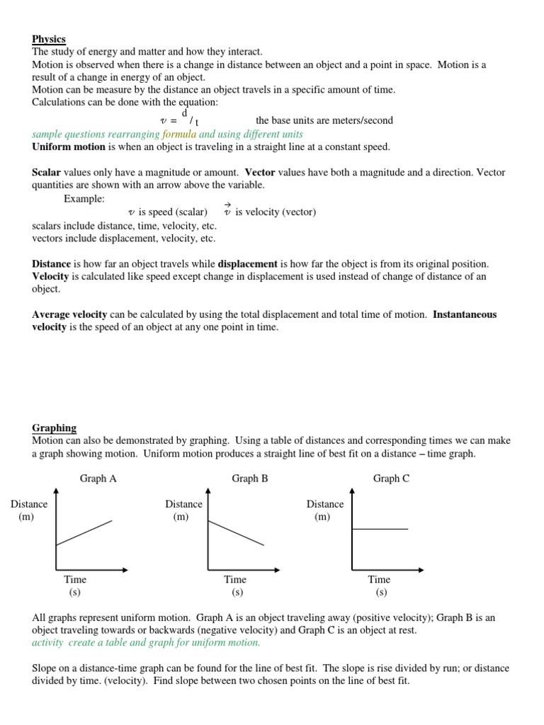 Motion Graph Analysis Worksheet Motion Unit 1 Notes Velocity