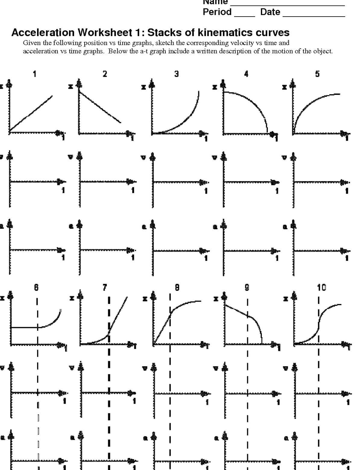 Motion Graph Analysis Worksheet Pin On Quality Pins