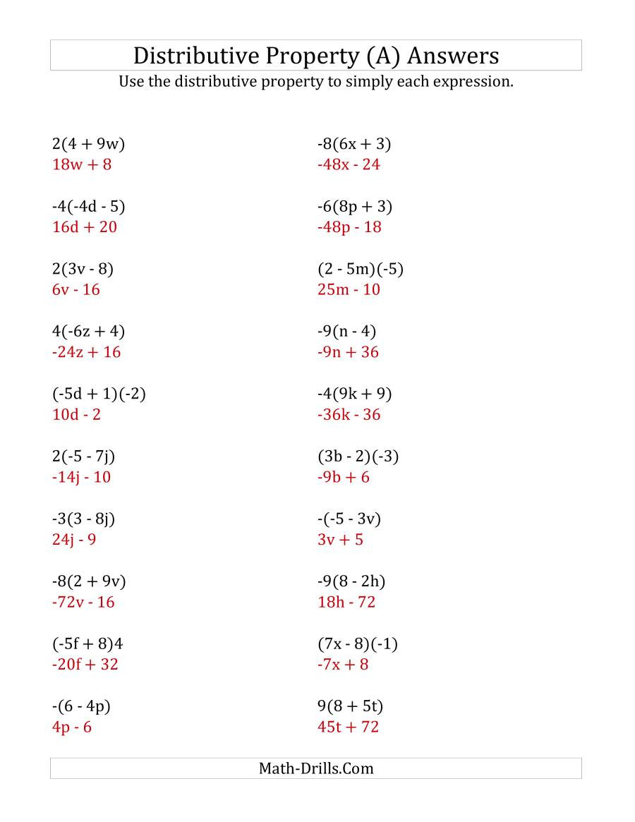 Multiplication Properties Of Exponents Worksheet Using the Distributive Property Answers Do Not Include
