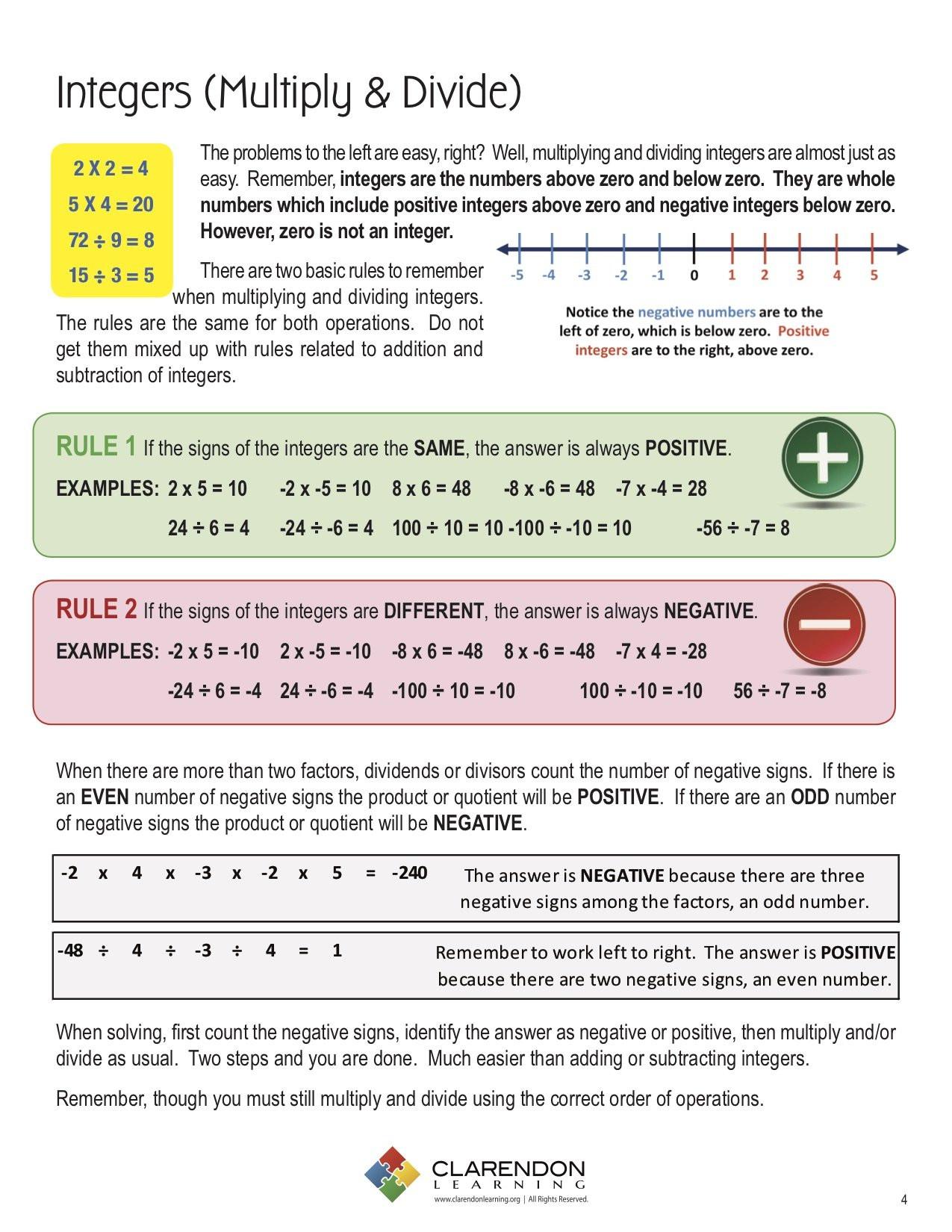 Multiplying and Dividing Integers Worksheet Integers Multiply & Divide Lesson Plan