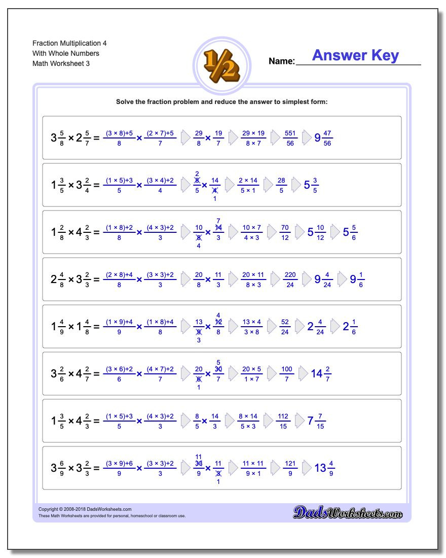 Multiplying Mixed Numbers Worksheet Fraction Multiplication with wholes