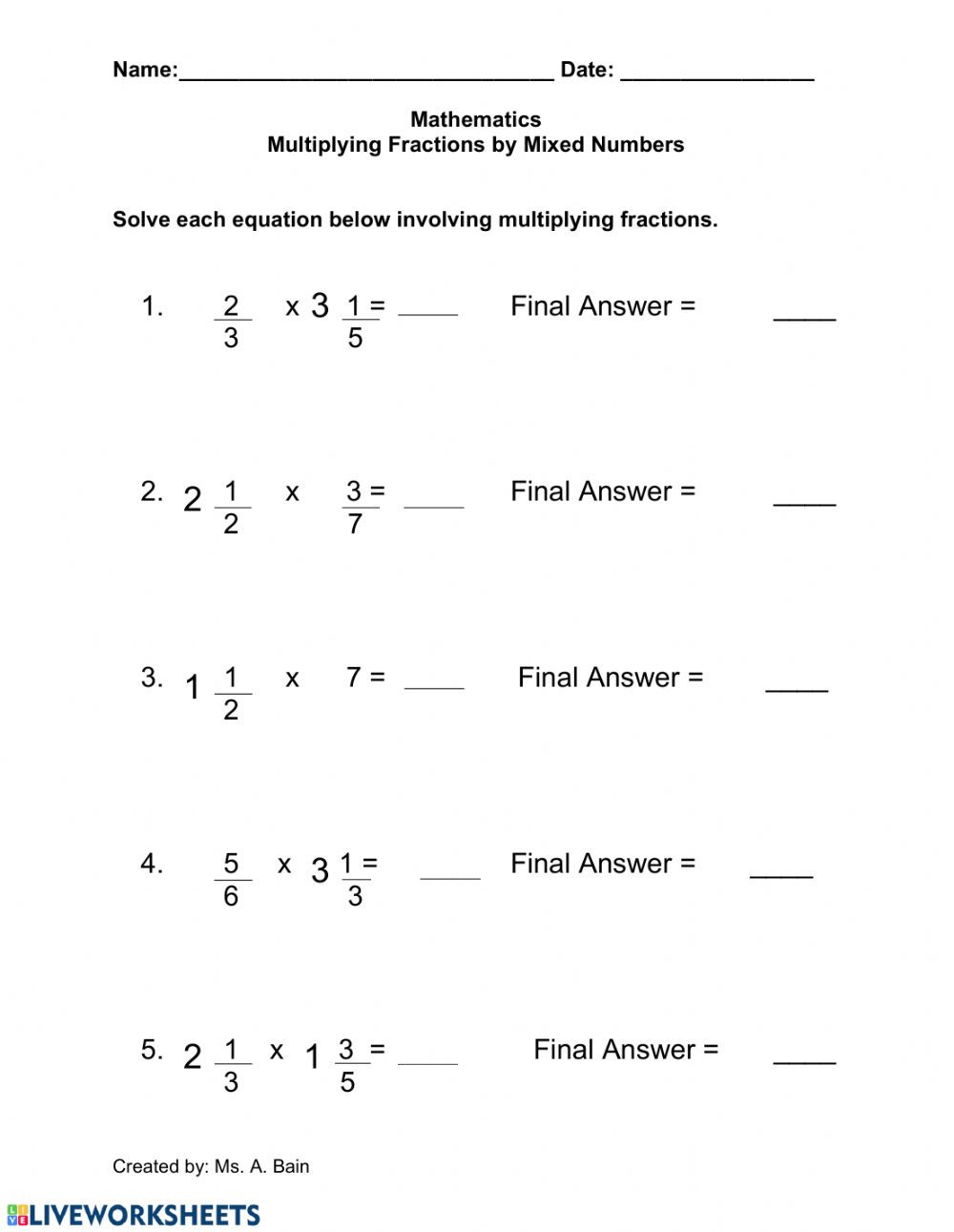 Multiplying Mixed Numbers Worksheet Multiplying Fractions by A Mixed Number Interactive Worksheet