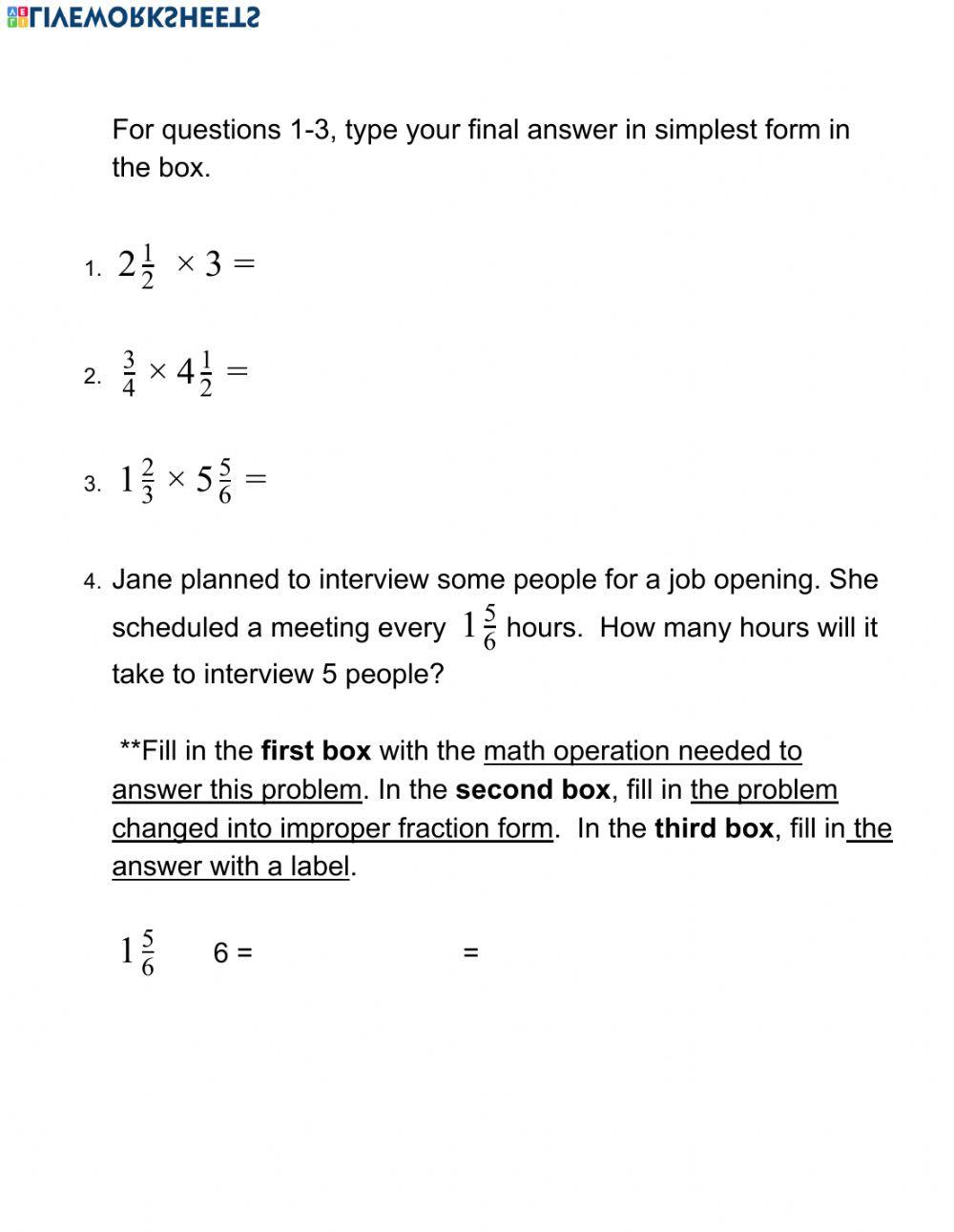 Multiplying Mixed Numbers Worksheet Multiplying Mixed Numbers and whole Numbers Interactive