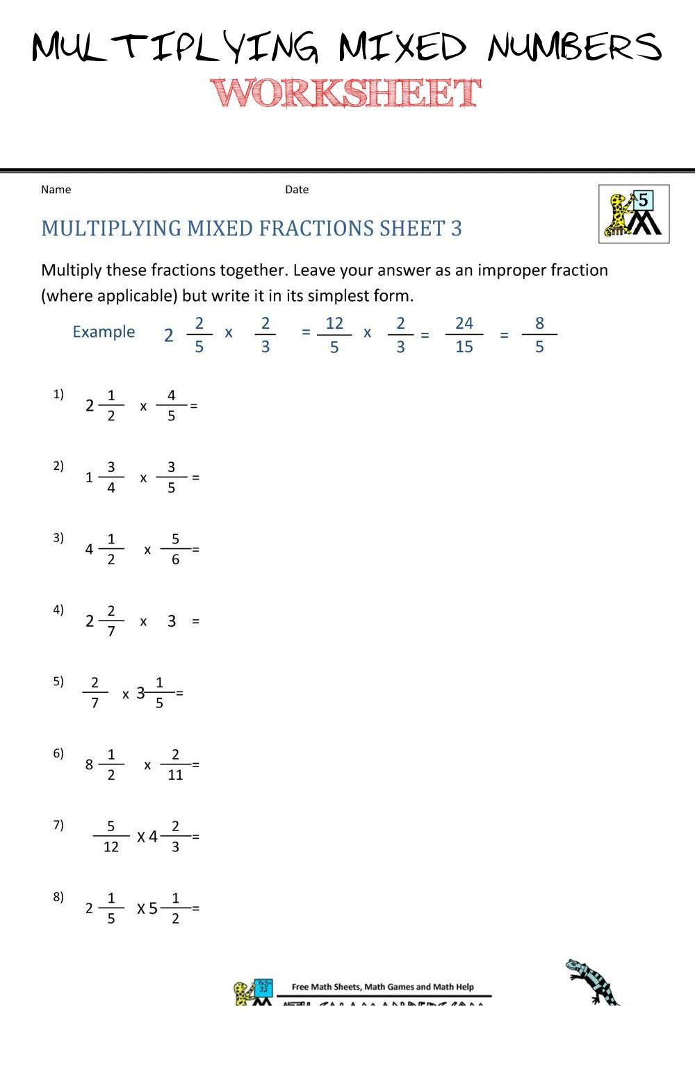 Multiplying Mixed Numbers Worksheet Multiplying Mixed Numbers Worksheet 3 Multiplying Mixed