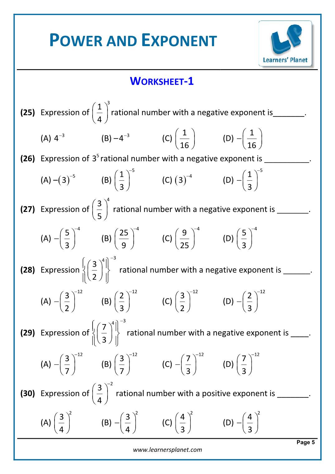 Multiplying Rational Expressions Worksheet 8th Math Cbse Exponents and Powers Worksheets Grade 6th