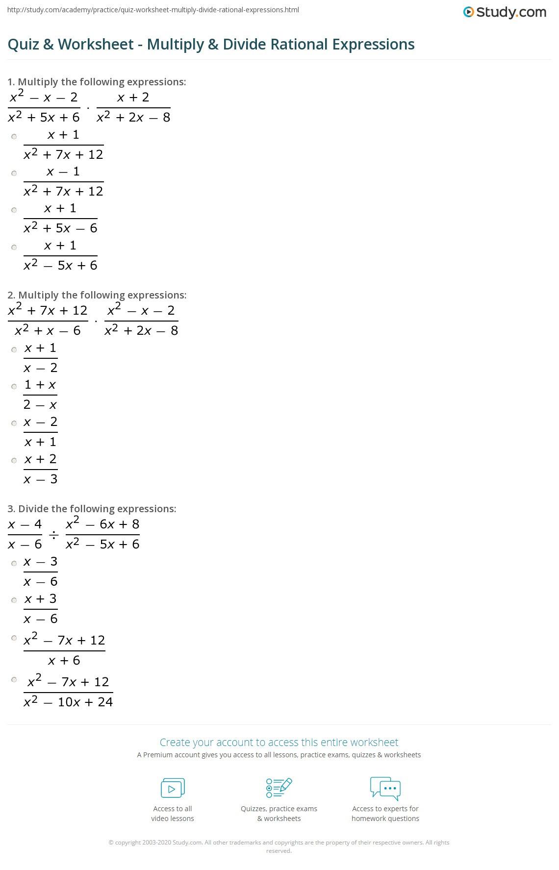 Multiplying Rational Expressions Worksheet Quiz & Worksheet Multiply & Divide Rational Expressions