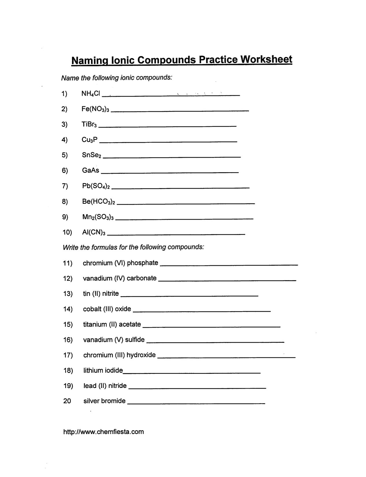 Naming Ionic Compounds Worksheet Answers Nomenclature Practice Worksheet