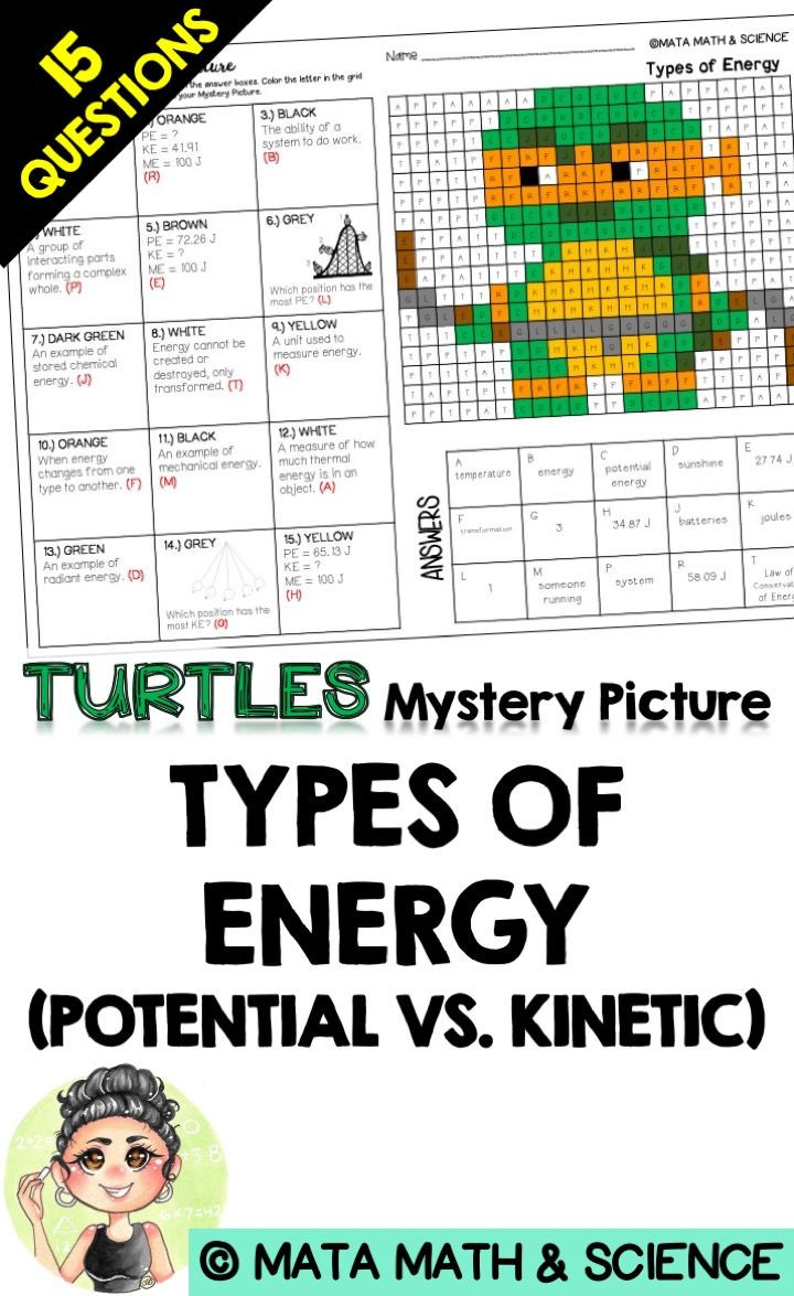 Newton039s Laws Of Motion Worksheet Types Of Energy Potential Vs Kinetic Science Mystery