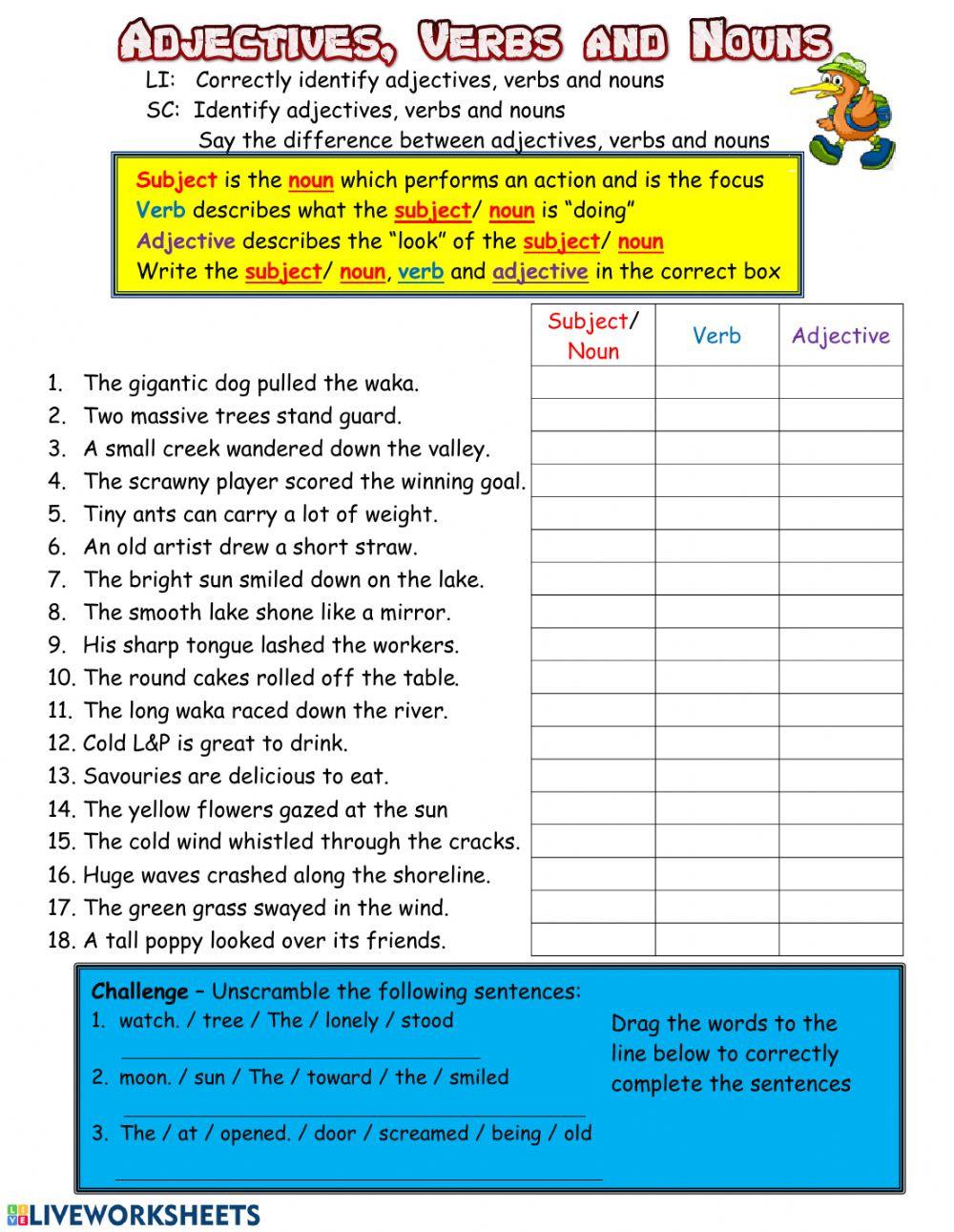 Noun Verb Adjective Worksheet Adjectives Verbs and Nouns Interactive Worksheet