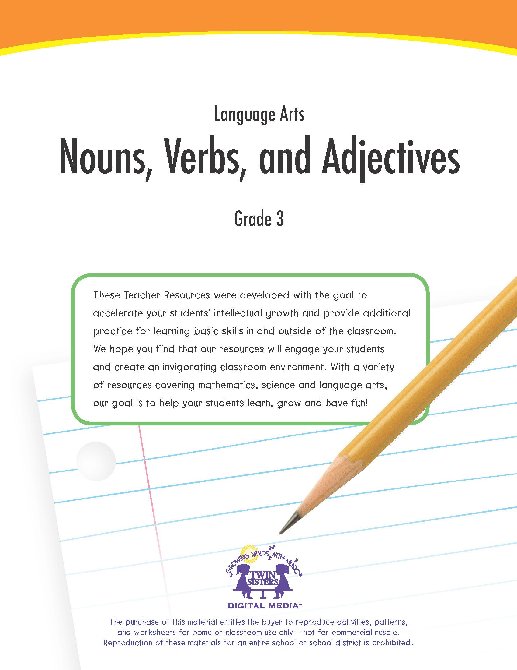 Noun Verb Adjective Worksheet Language Arts Grade 3 Nouns Verbs and Adjectives