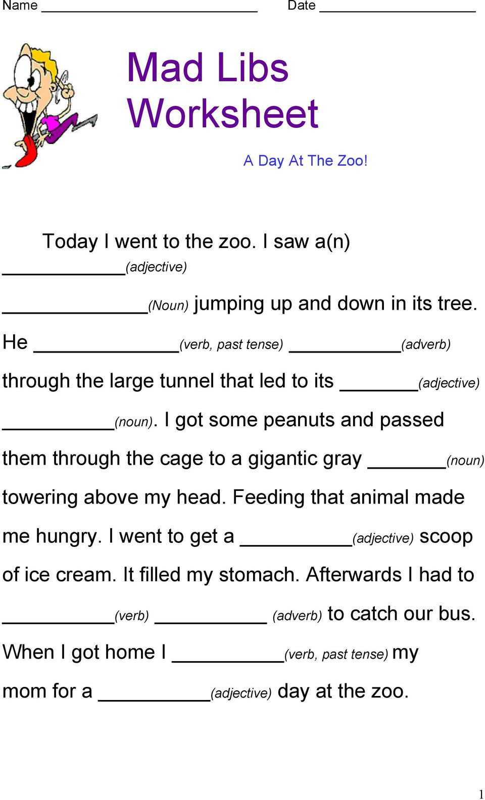 Noun Verb Adjective Worksheet Mad Libs Worksheet today Went to the Zoo Saw He Verb