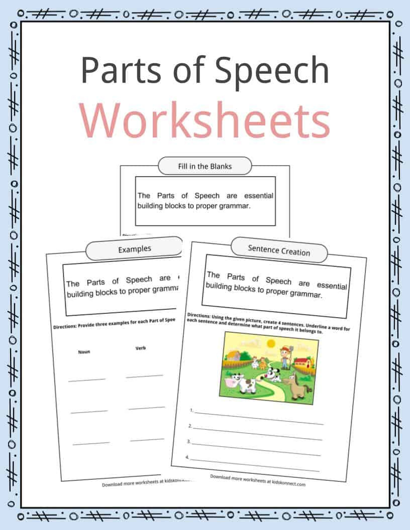 Noun Verb Adjective Worksheet Parts Of Speech Worksheets Examples & Definition for Kids