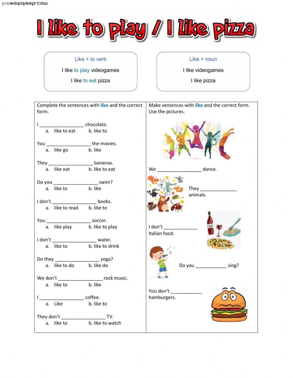 Nouns and Verbs Worksheet Like Noun Like Verb Interactive Worksheet