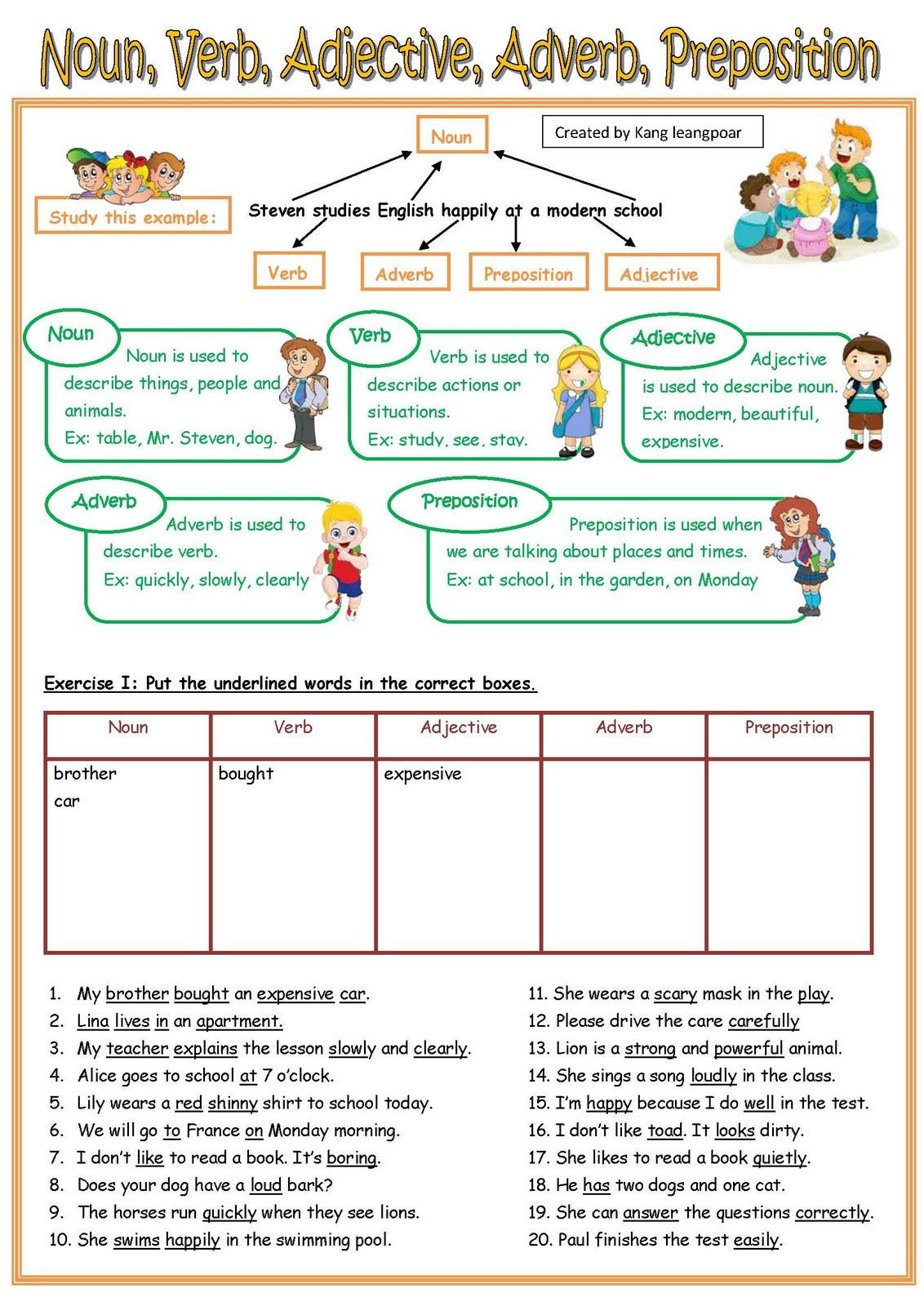 Nouns and Verbs Worksheet Noun Verb Adjective Adverb Pre Page 1 1132—1600