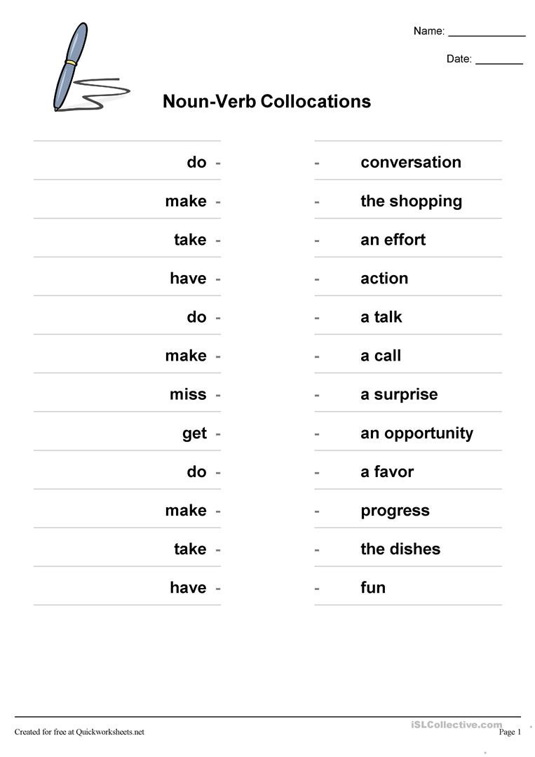Nouns and Verbs Worksheet Noun Verb Collocations English Esl Worksheets for Distance