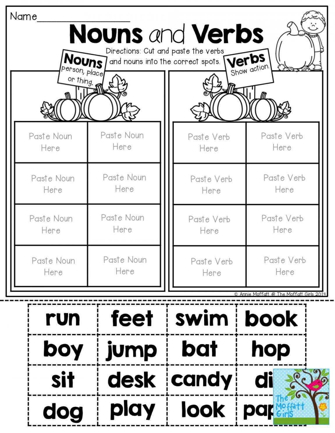 Nouns and Verbs Worksheet Pin On English