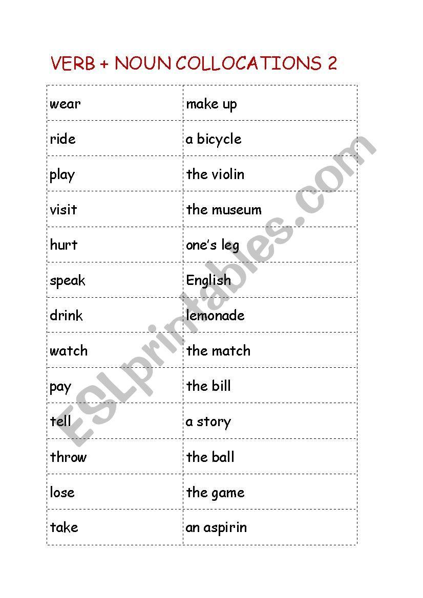 Nouns and Verbs Worksheet Verb Noun Collocations 2 Esl Worksheet by Hemingway007