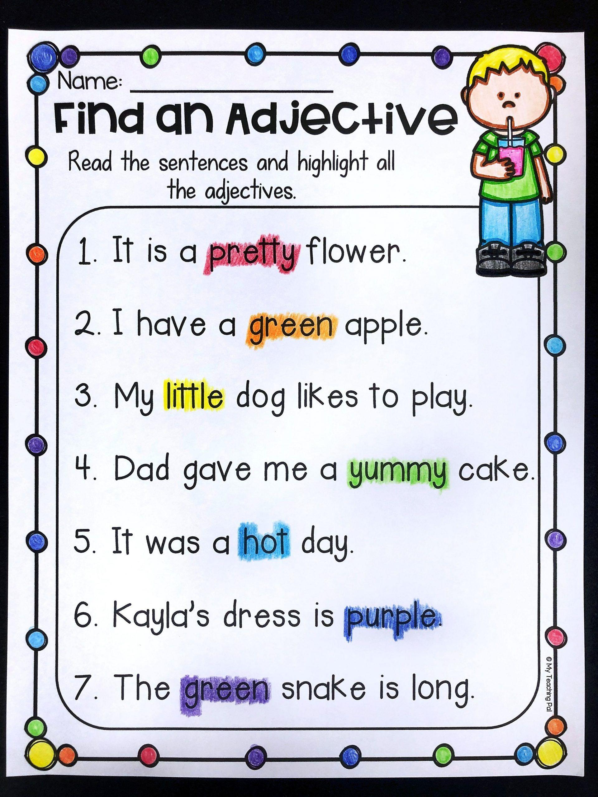 Nouns Verbs Adjectives Worksheet 20 Noun Verb Adjective Worksheet In 2020