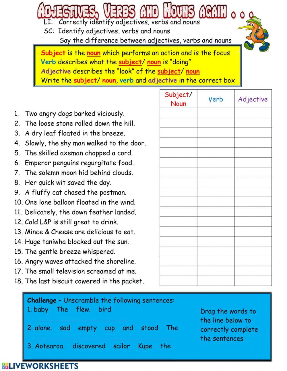 Nouns Verbs Adjectives Worksheet Adjectives Verbs and Nouns Again Interactive Worksheet
