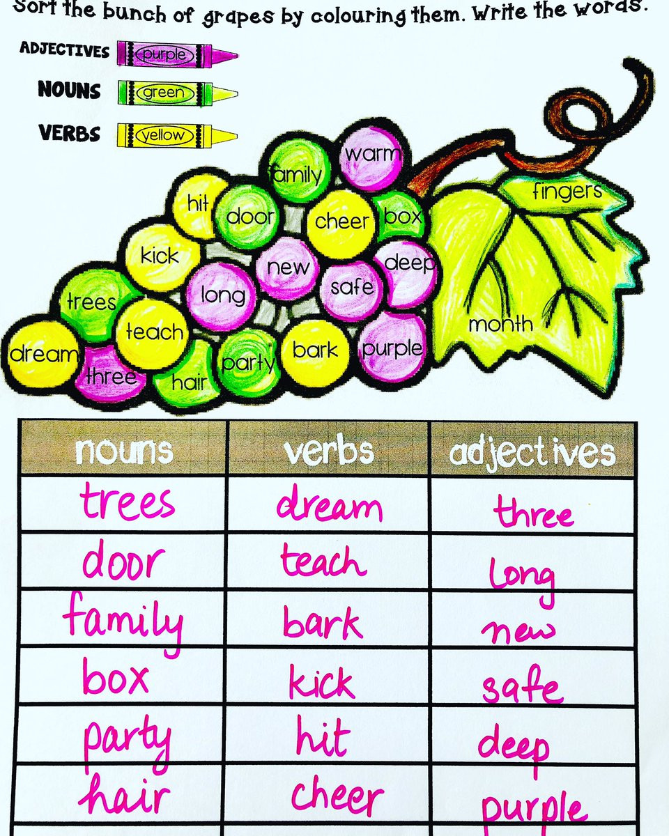 "Nouns Verbs Adjectives Worksheet Englishsafari On Twitter "" Free Nouns Verbs Adjectives"