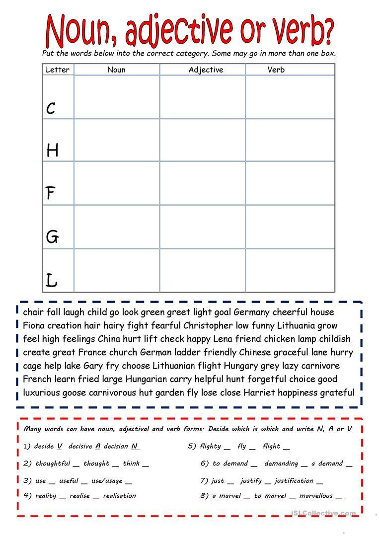 Nouns Verbs Adjectives Worksheet Noun Verb or Adjective English Esl Worksheets for