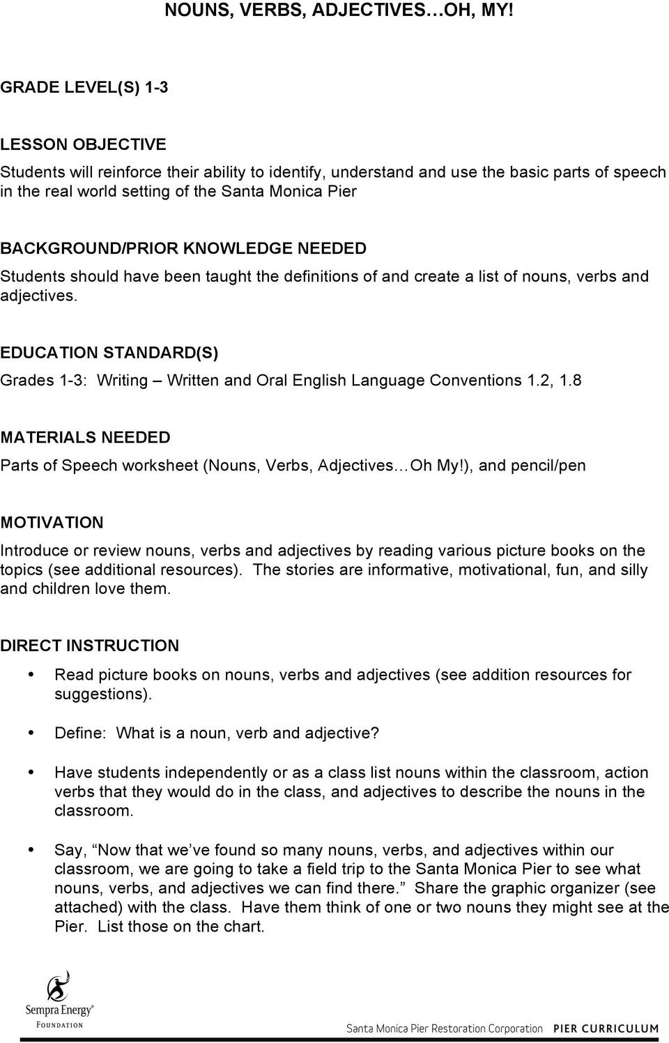 Nouns Verbs Adjectives Worksheet Nouns Verbs Adjectives Oh My Pdf Free Download