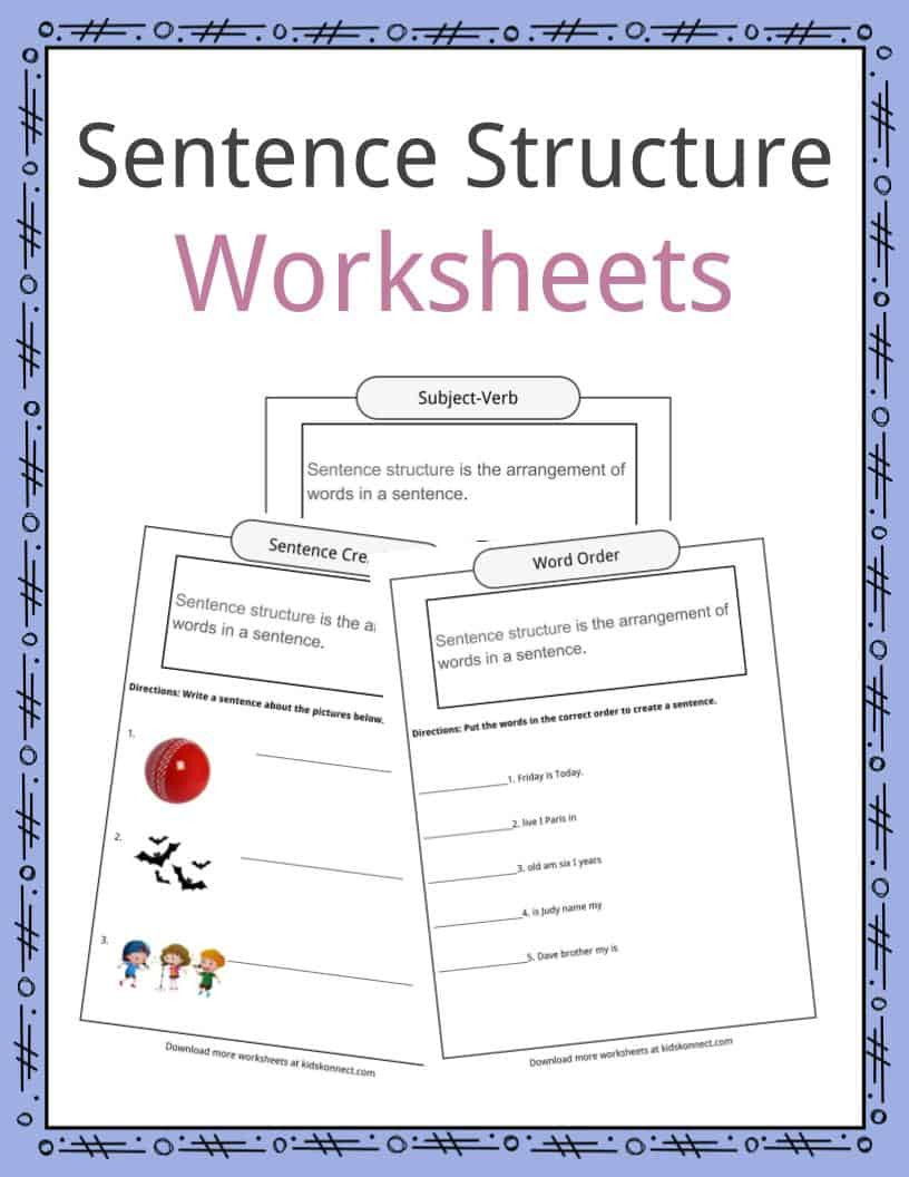 Nouns Verbs Adjectives Worksheet Sentence Structure Worksheets Examples & Definition for Kids