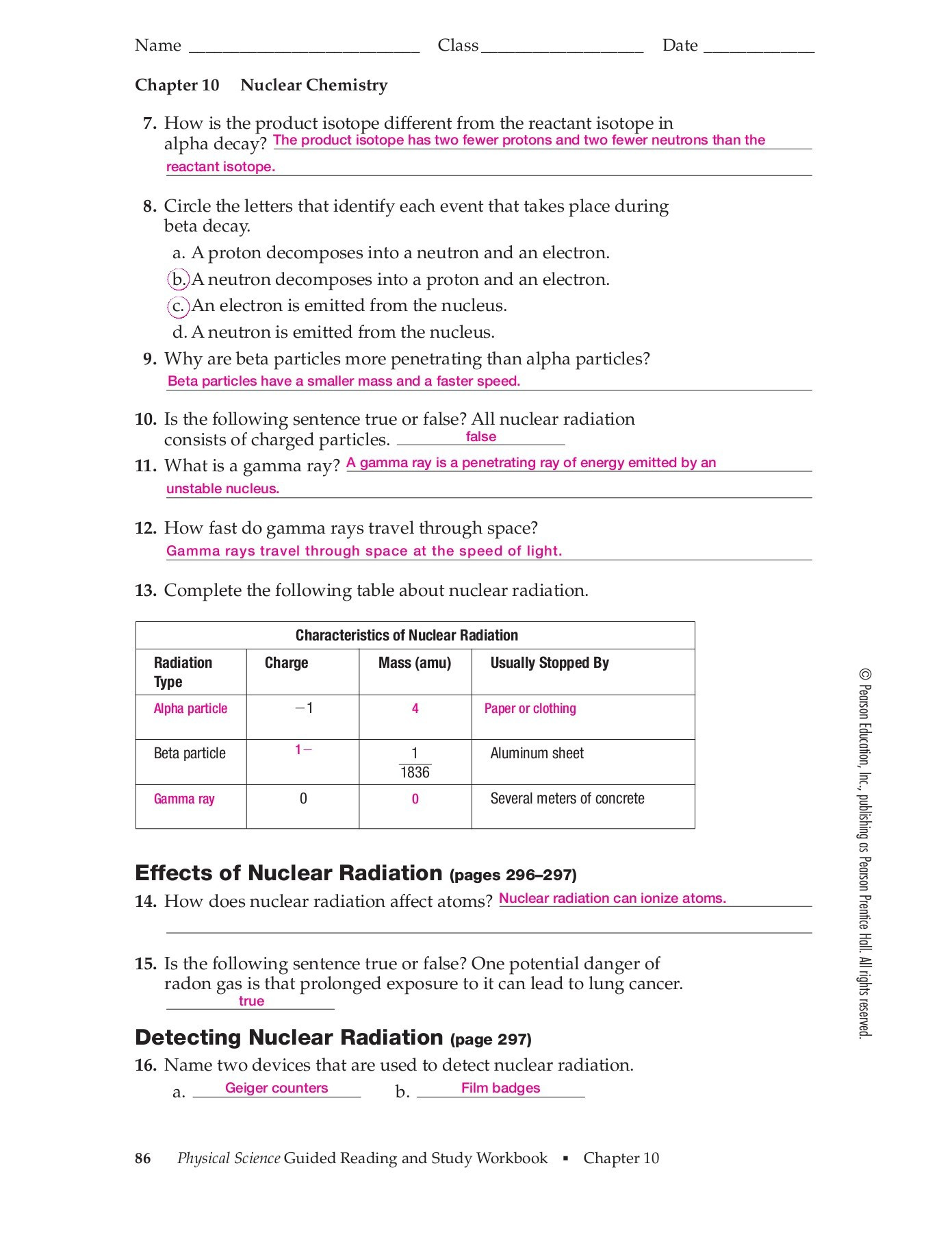 Nuclear Decay Worksheet Answer Key Chapter 10 Nuclear Chemistry Section 10 1 Radioactivity