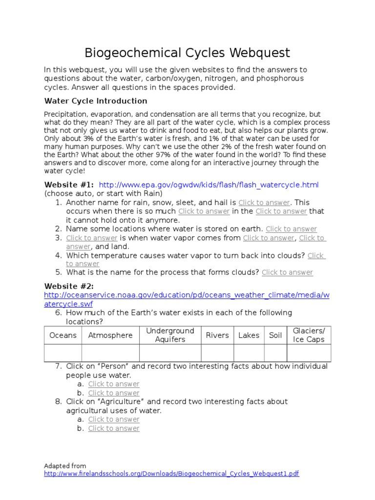 Nutrient Cycles Worksheet Answers Biogeochemicalcycleswebqueststudentform