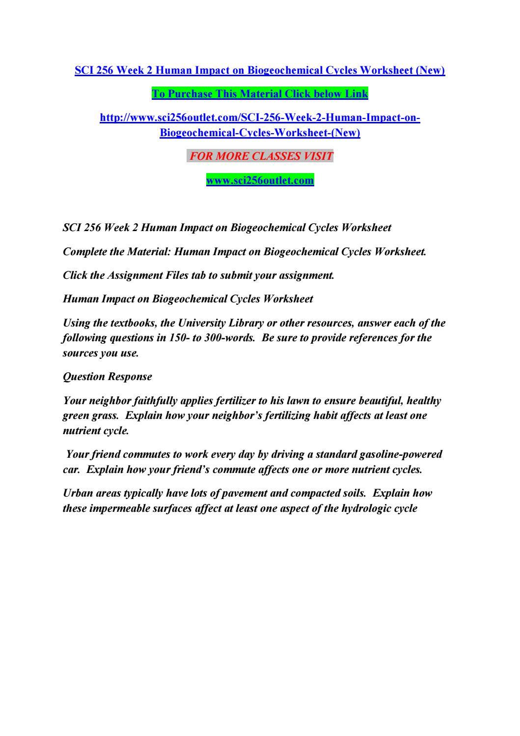 Nutrient Cycles Worksheet Answers Sci 256 Week 2 Human Impact On Biogeochemical Cycles