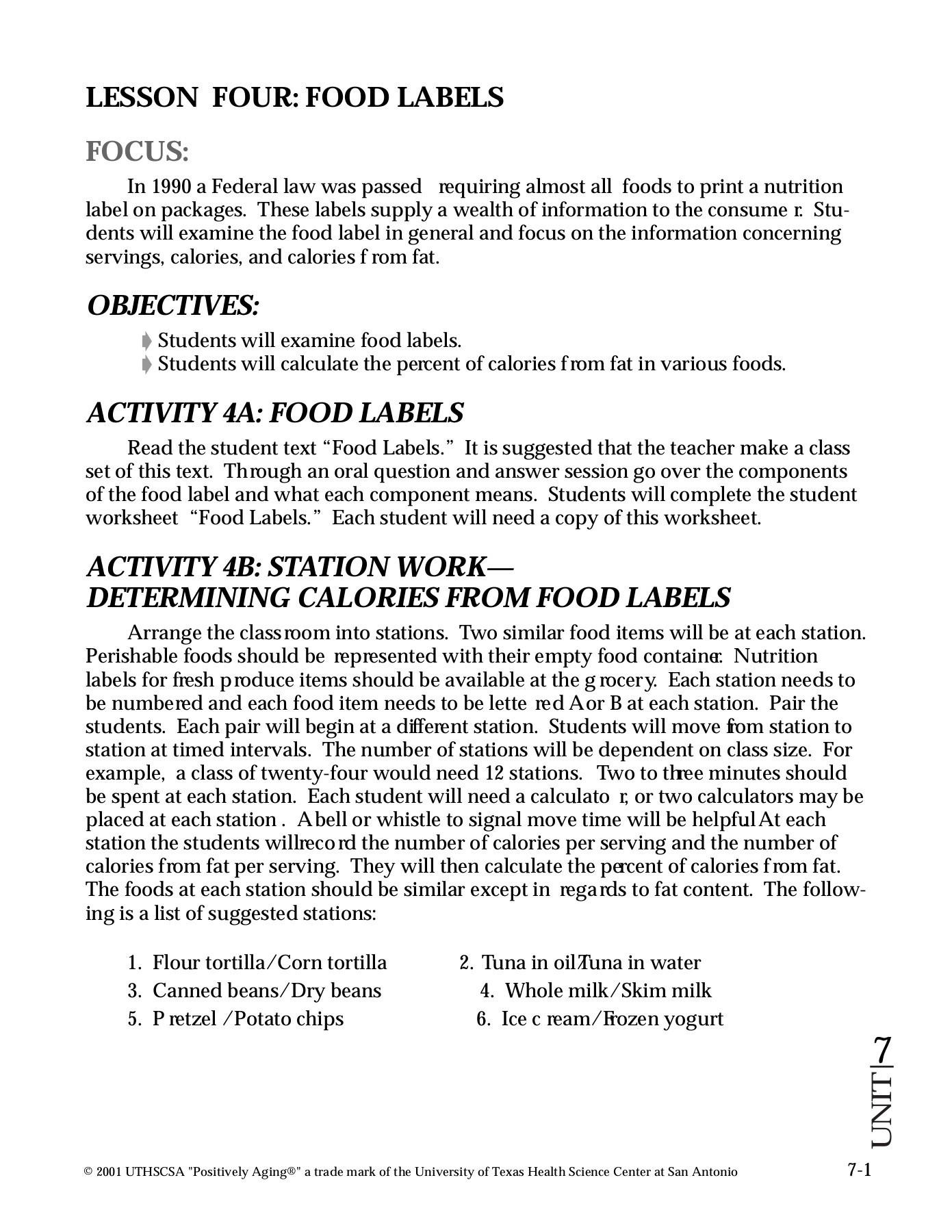 Nutrition Label Worksheet Answers Lesson Four Food Labels Teacher Enrichment Initiatives