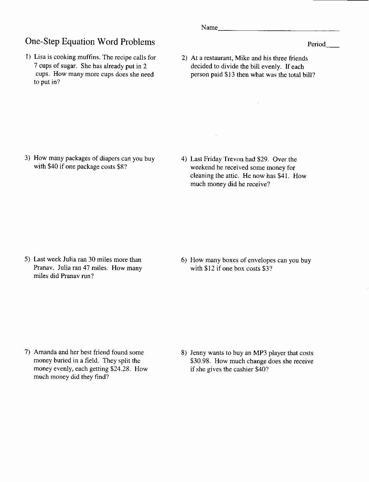 One Step Equations Worksheet Pdf Algebra Word Problems Worksheet Pdf Inspirational Two Step