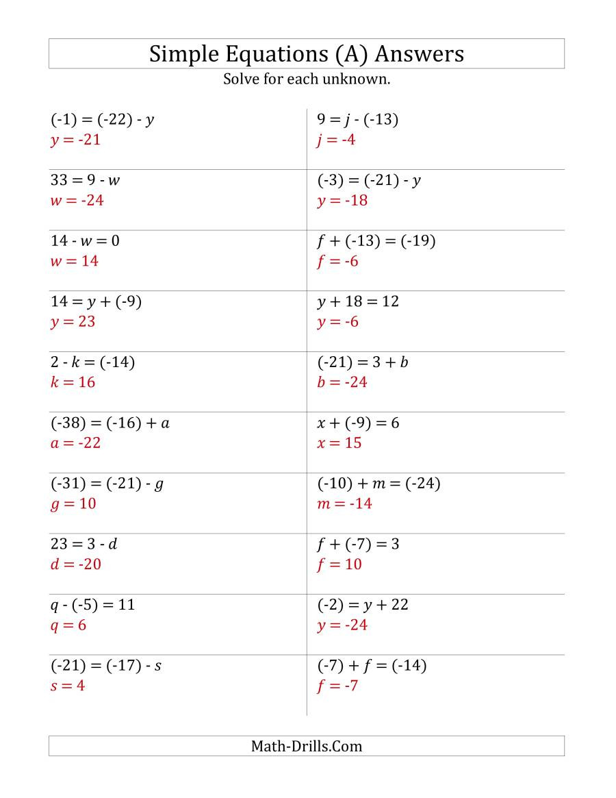 One Step Equations Worksheet Pdf solve E Step Equations with R Values Old