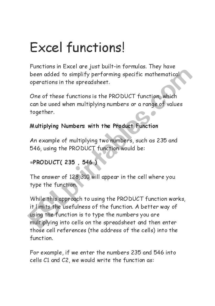 Operations with Functions Worksheet English Worksheets Excel Functions