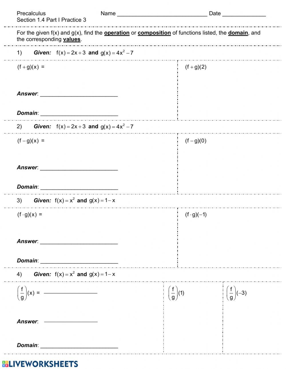 Operations with Functions Worksheet Operations Of Functions Review Interactive Worksheet
