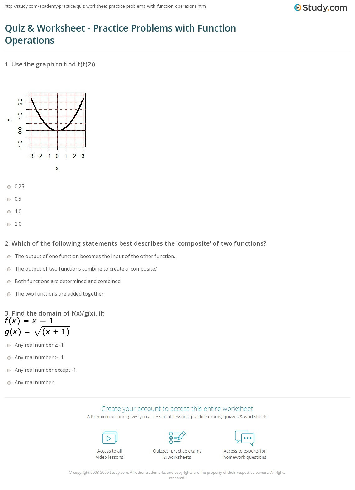 Operations with Functions Worksheet Quiz & Worksheet Practice Problems with Function
