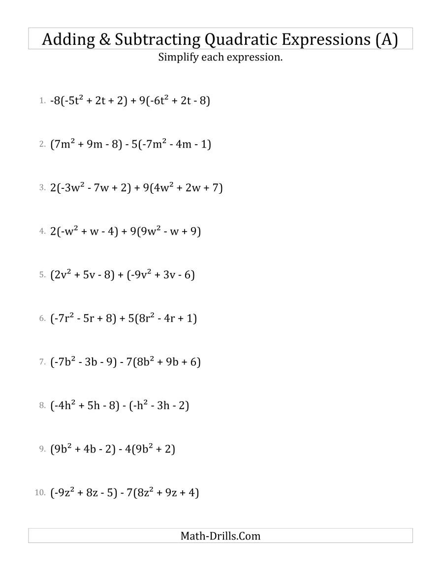 Operations with Polynomials Worksheet Adding and Subtracting and Simplifying Quadratic Expressions