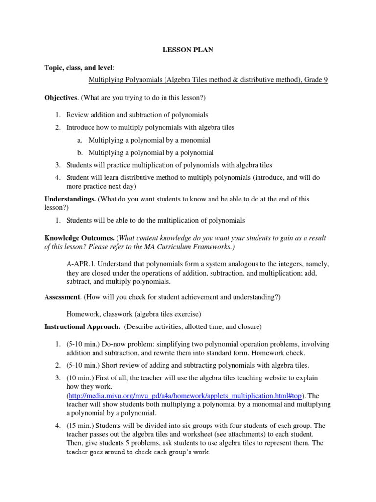Operations with Polynomials Worksheet Lesson Plan 4 Multiplying Polynomials Revised