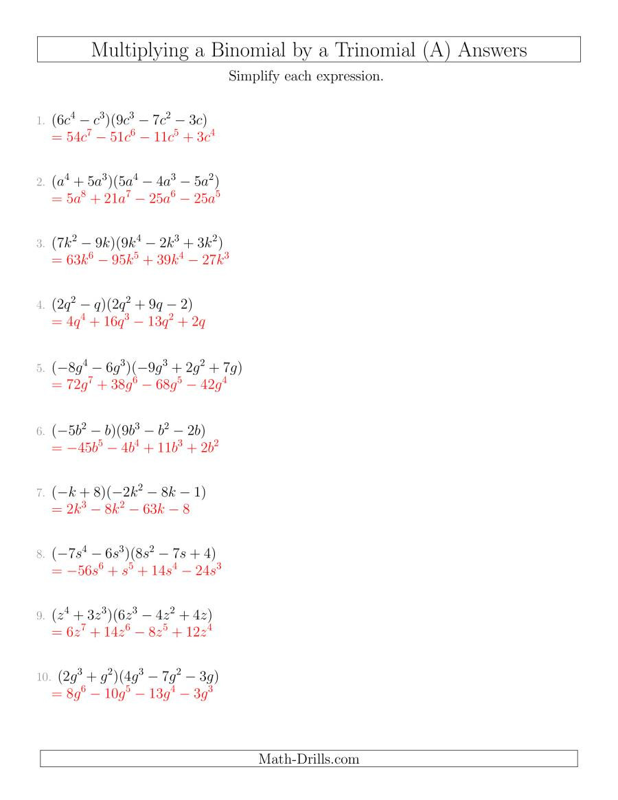 Operations with Polynomials Worksheet Multiplying A Binomial by A Trinomial A