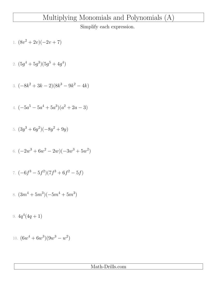Operations with Polynomials Worksheet Multiplying Monomials and Polynomials with Two Factors Mixed