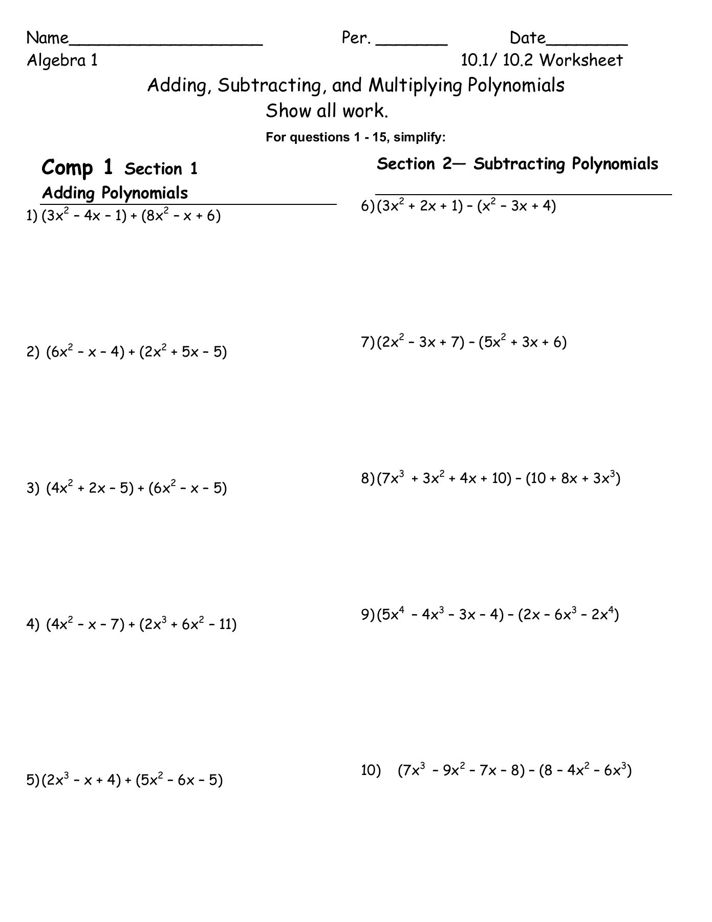 Operations with Polynomials Worksheet Ss Pages 1 4 Text Version
