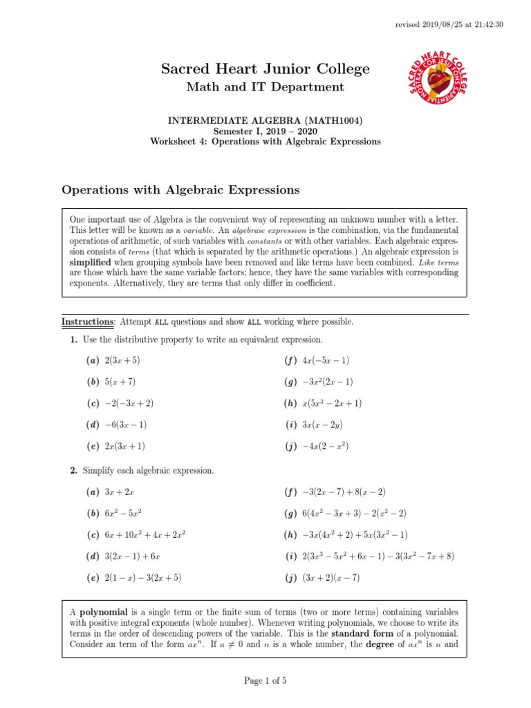 Operations with Polynomials Worksheet Ws4 Operations with Algebraic Expressions Polynomial