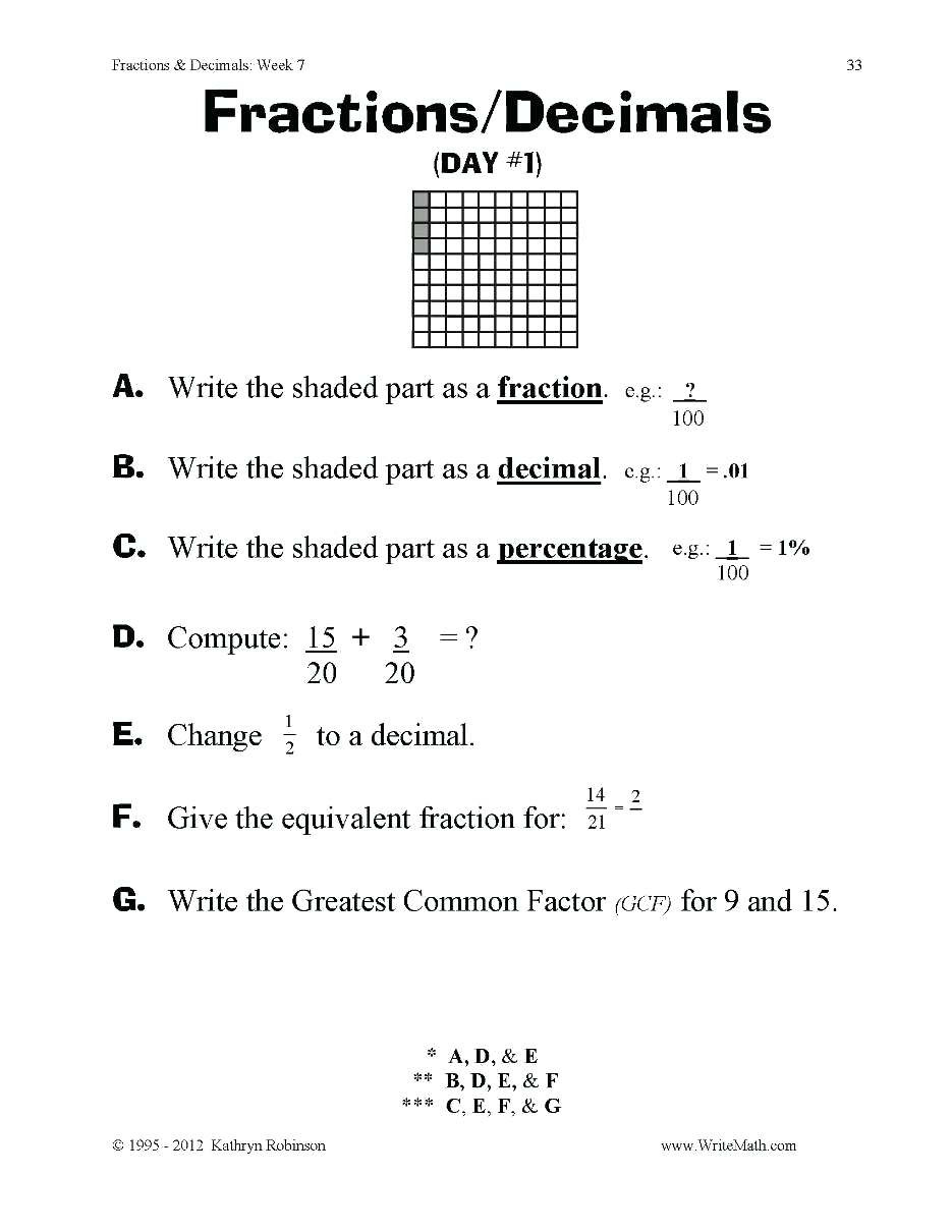 Ordering Fractions and Decimals Worksheet Fractions and Decimals Worksheets Fractions and Decimals